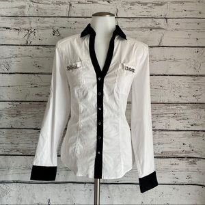 NWOT White with black Essential Express shirt